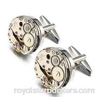EnjoIt Mens Cufflinks Mechanical Watch Movement Shape Steampunk Cufflinks Gifts for Men Silver B076H32ZKK